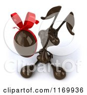 Clipart Of A 3d Dark Chocolate Easter Bunny Holding Up An Egg With A Red Bow Royalty Free CGI Illustration