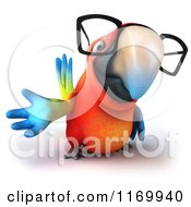 Clipart Of A 3d Bespectacled Macaw Parrot Presenting 2 Royalty Free CGI Illustration