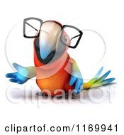 Clipart Of A 3d Bespectacled Macaw Parrot Presenting Royalty Free CGI Illustration