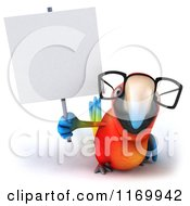 Clipart Of A 3d Bespectacled Macaw Parrot Holding Up A Sign Royalty Free CGI Illustration
