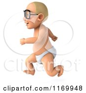 Clipart Of A 3d Caucasian Baby Boy Running And Wearing Glasses 2 Royalty Free CGI Illustration