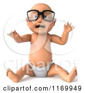 Clipart Of A 3d Caucasian Baby Boy Sitting And Wearing Glasses Royalty Free CGI Illustration