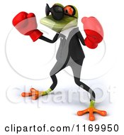Clipart Of A 3d Formal Frog Wearing Sunglasses And Boxing Gloves Royalty Free CGI Illustration