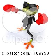 Clipart Of A 3d Formal Frog Wearing Sunglasses And Punching With Boxing Gloves 3 Royalty Free CGI Illustration