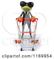 Clipart Of A 3d Formal Frog Wearing Sunglasses And Pushing A Shopping Cart Royalty Free CGI Illustration