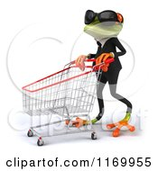 Clipart Of A 3d Formal Frog Wearing Sunglasses And Pushing A Shopping Cart 2 Royalty Free CGI Illustration