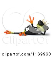 Clipart Of A 3d Reclined Formal Frog Prince Wearing Sunglasses And Waving Royalty Free CGI Illustration