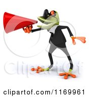 Clipart Of A 3d Formal Frog Wearing Sunglasses And Using A Megaphone Royalty Free CGI Illustration