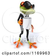 Clipart Of A 3d Formal Frog Wearing Sunglasses And Holding A Coffee Cup 2 Royalty Free CGI Illustration