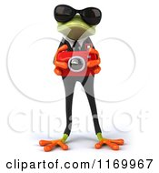 Clipart Of A 3d Formal Frog Wearing Sunglasses And Taking Pictures Royalty Free CGI Illustration
