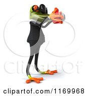 Clipart Of A 3d Formal Frog Wearing Sunglasses And Taking Pictures 2 Royalty Free CGI Illustration