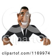 Clipart Of A 3d Handsome Black Businessman Pointing Down At A Sign Royalty Free CGI Illustration