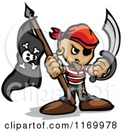 Cartoon Of A Tough Pirate Holding A Jolly Roger Flag And Sword In Fisted Hands Royalty Free Vector Clipart