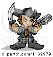 Cartoon Of A Tough Captain Pirate Holding A Sword And Pistol In Fisted Hands Royalty Free Vector Clipart