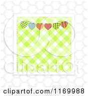 Clipart Of A Green Gingham And Heart Bunting Square Over White Hexagons Royalty Free Vector Illustration