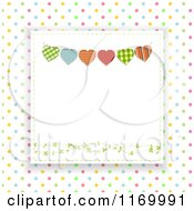 Clipart Of A Heart Bunting Square Over Colorful Polka Dots Royalty Free Vector Illustration by elaineitalia