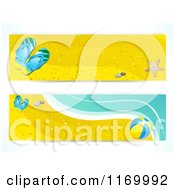Clipart Of Summer Beach Website Banners With Sand Sandals A Beach Ball And Surf Royalty Free Vector Illustration by elaineitalia