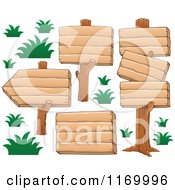 Cartoon Of Wood Sign Posts And Grass Royalty Free Vector Clipart by visekart