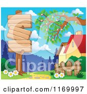 Cartoon Of A Wood Sign Post By A Path And Houses Royalty Free Vector Clipart by visekart