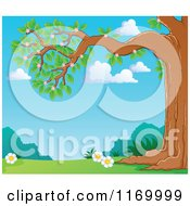 Cartoon Of A Blossoming Tree Branch Over A Spring Meadow Royalty Free Vector Clipart