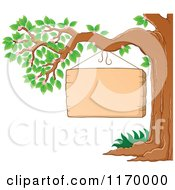 Cartoon Of A Wood Sign Hanging Form A Tree Royalty Free Vector Clipart by visekart