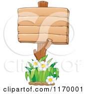 Cartoon Of A Wood Sign Post And Daisies Royalty Free Vector Clipart by visekart