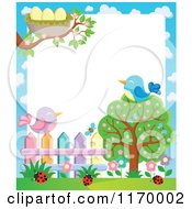 Cartoon Of Birds On A Tree And Fence With A Nest And Ladybugs Over White Copyspace Royalty Free Vector Clipart by visekart