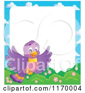 Cartoon Of A Happy Purple Bird Flying Over Shrubs Over White Copyspace Royalty Free Vector Clipart