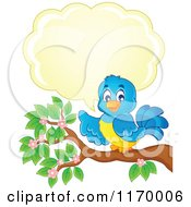 Cartoon Of A Happy Bluebird Talking And Pointing On A Branch Royalty Free Vector Clipart