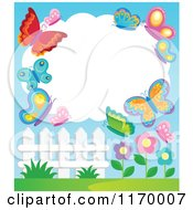 Cartoon Of A Cloud Frame With Butterflies Over Flowers And A Fence Royalty Free Vector Clipart