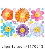 Cartoon Of Colorful Happy Flowers Royalty Free Vector Clipart