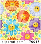 Cartoon Of A Seamless Pattern Of Colorful Happy Flowers On Yellow Royalty Free Vector Clipart by visekart