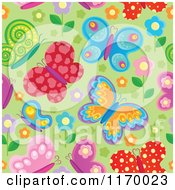 Seamless Colorful Butterfly Background Pattern Over Green