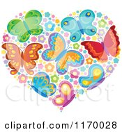 Cartoon Of A Heart Made Of Butterflies And Flowers Royalty Free Vector Clipart