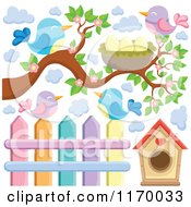 Cartoon Of Birds With A Branch Nest House And Fence Royalty Free Vector Clipart by visekart