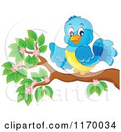 Cartoon Of A Happy Bluebird Pointing On A Branch Royalty Free Vector Clipart