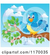 Cartoon Of A Happy Bluebird Pointing On A Branch Against Sky Royalty Free Vector Clipart