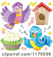 Cartoon Of Happy Birds With Eggs In A Nest Tracks Flowers And A House Royalty Free Vector Clipart by visekart