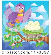 Cartoon Of A Happy Purple Flying To A Nest In A Tree Royalty Free Vector Clipart by visekart