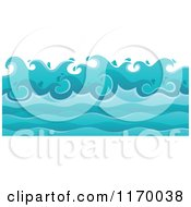Cartoon Of A Background Of Ocean Waves Royalty Free Vector Clipart by visekart