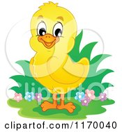 Cartoon Of A Happy Cute Yellow Chick Royalty Free Vector Clipart by visekart