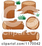 Cartoon Of Tree Logs And Stumps Royalty Free Vector Clipart