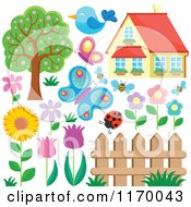 Cartoon Of A House Insects Birds Flowers Fence And Tree Royalty Free Vector Clipart by visekart