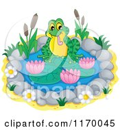 Cartoon Of A Frog On A Small Lily Pond Royalty Free Vector Clipart