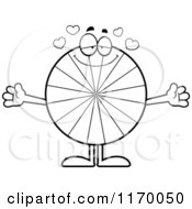 Cartoon Of An Outlined Loving Peppermint Candy Mascot With Open Arms Royalty Free Vector Clipart