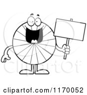 Cartoon Of An Outlined Happy Peppermint Candy Mascot Holding A Sign Royalty Free Vector Clipart