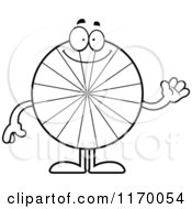 Cartoon Of An Outlined Waving Peppermint Candy Mascot Royalty Free Vector Clipart