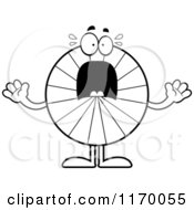 Cartoon Of An Outlined Screaming Peppermint Candy Mascot Royalty Free Vector Clipart