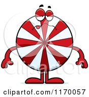 Cartoon Of A Sick Peppermint Candy Mascot Royalty Free Vector Clipart