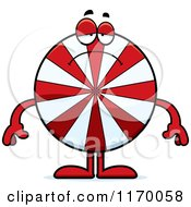 Cartoon Of A Depressed Peppermint Candy Mascot Royalty Free Vector Clipart